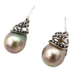 Diamond Twirl Tahitian Pearl Drop French Hook 18 Karat Gold Earrings