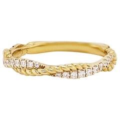 Diamond Twist Band 0.20 Carat 1/5 ct Round Diamond Braided Wedding Band 14K Gold