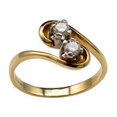 Diamond Engagement Ring Two Stone Twist 18 Karat Gold, Vintage Engagement Rings