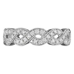 Diamond Twist Wedding Band with Milgrain Edges .47 Carat in 14 Karat White Gold
