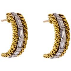 Diamond Twisted Earrings, 18 Karat Yellow Gold Curved Rope Post Diamond Earrings
