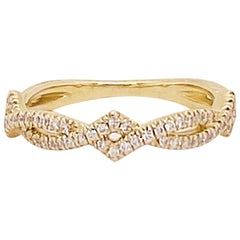 Diamond Twisted Vine Band 14 Karat Gold Stackable Ring 0.25 Carat '1/5 Carat'