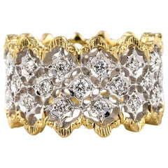 Diamond Two-Color Gold Filigree Ring