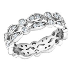 Diamond Two-Row Prong Set Designer Scalloped Eternity Ring Weighing 0.88 Carat