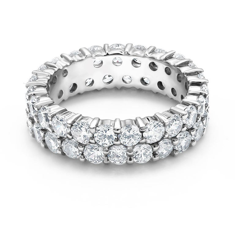 Two-Row Diamond Prong Set Eternity Gold Ring Weighing 3.30 Carat In New Condition For Sale In New York, NY