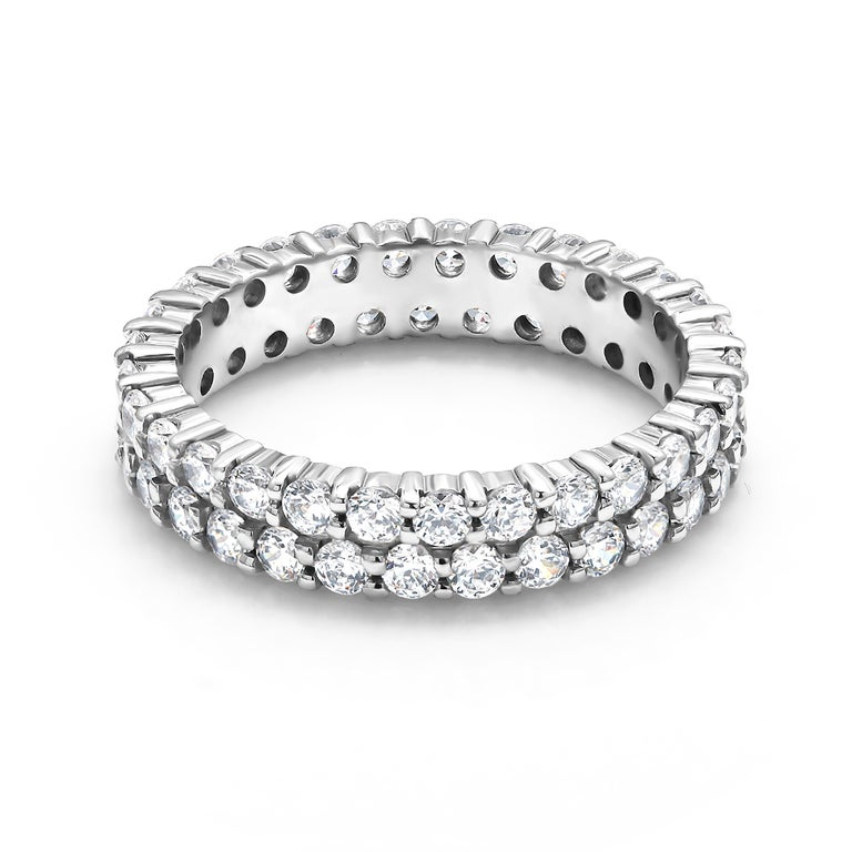 Eighteen Karats white gold two-row diamond prong set  eternity ring Diamond weighing 3.68 carat  Made to order for all finger sizes Special order rings are not refundable  Two weeks delivery  New Ring Available in a full finger ring, half finger