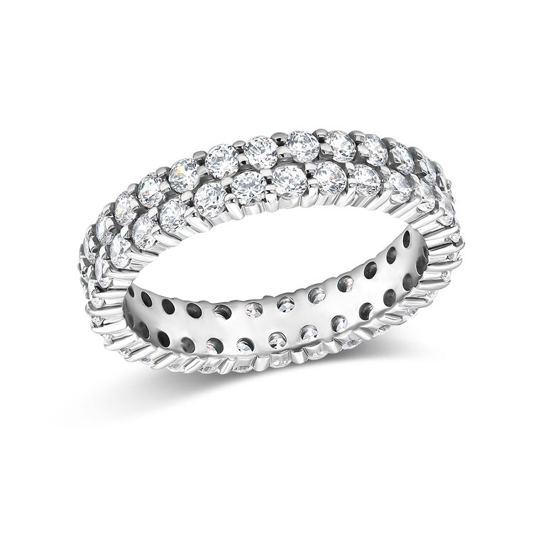 Two-Row Diamond Prong Set Eternity Gold Ring Weighing 3.30 Carat For Sale 2