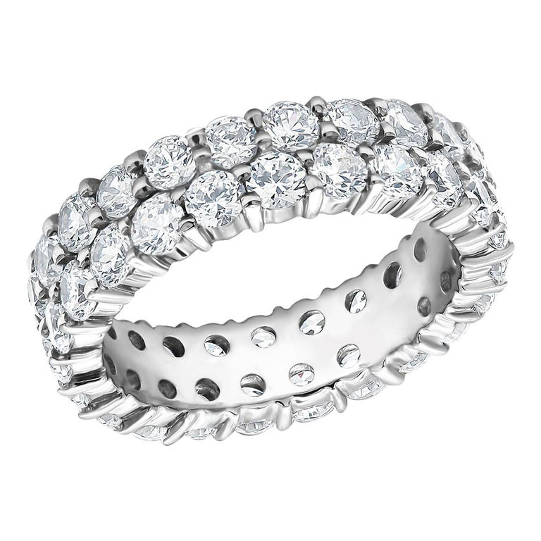 Two-Row Diamond Prong Set Eternity Gold Ring Weighing 3.30 Carat For Sale
