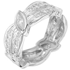 Diamond Two-Row Swirl Platinum Eternity Band Ring
