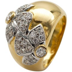 Diamond Two-Tone 18 Karat Gold Dome Ring