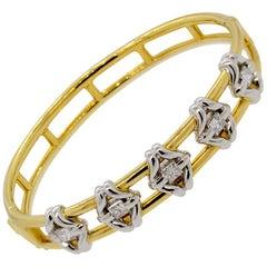 Diamond Two-Tone Gold and Platinum Bangle Bracelet
