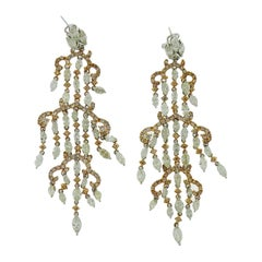 Diamond Two-Tone Gold Chandelier Earrings