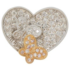 Diamond Two-Tone Gold Heart-Butterfly Ring