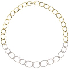 Diamond Two-Tone Gold Hoop Link Necklace