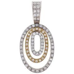 Diamond Two-Tone Gold Oval Pendant