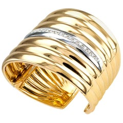 Diamond Two-Tone Gold Wide Hinged Cuff Bracelet