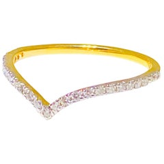 "Diamond ""V"" Band, 18 Karat Yellow Gold Stackable Fashion Ring and Diamond Band"