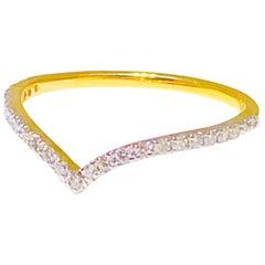 "Diamond ""V"" Band, 18 Karat Yellow Gold Stackable Fashion Ring and Diamond Band"