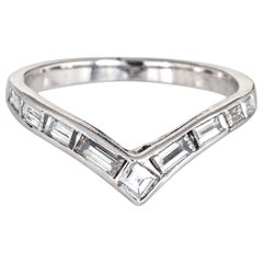 Diamond V Band Vintage Platinum Ring Mixed Cut Diamonds Estate Jewelry