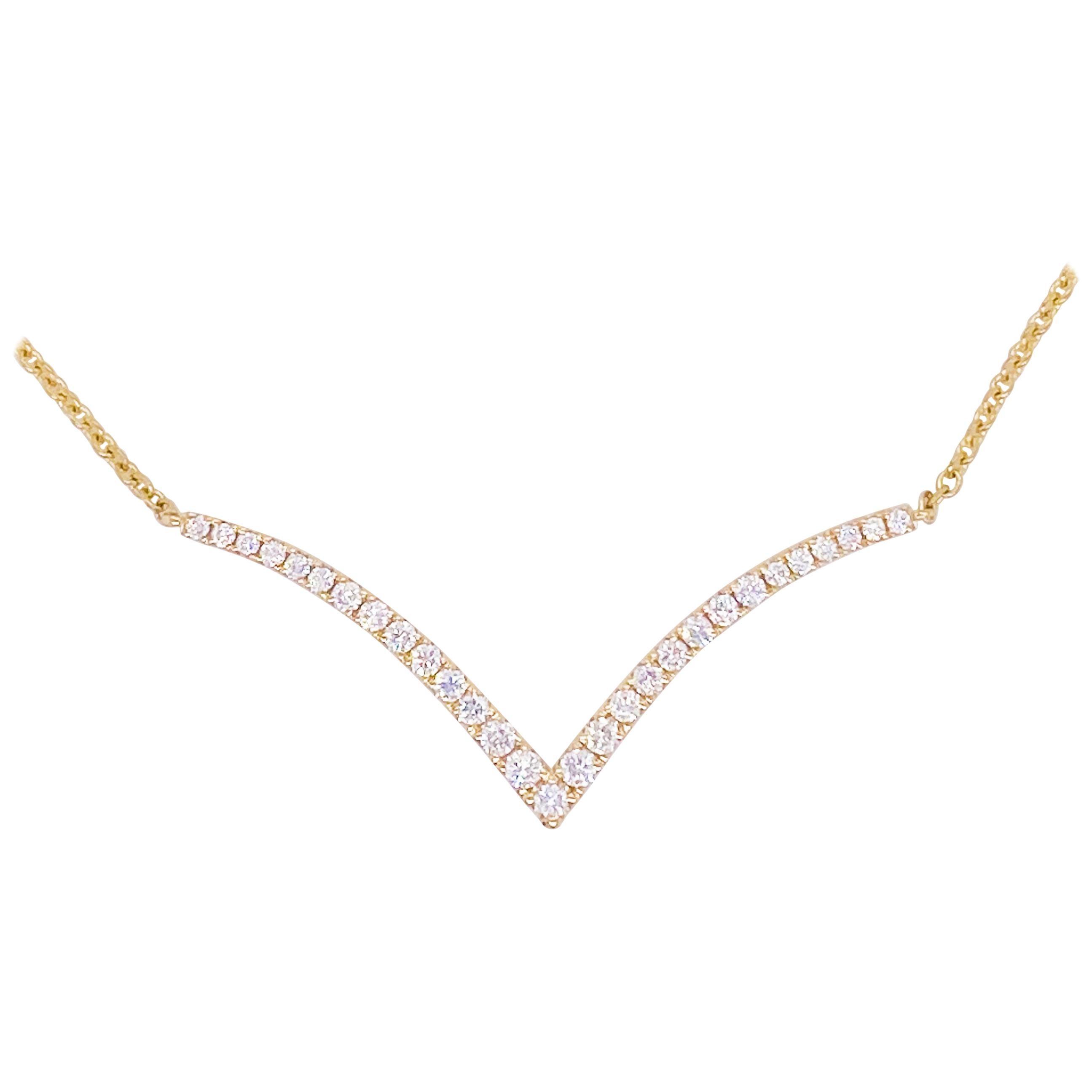 Diamond V Necklace 14 Karat Yellow Gold, Wedding Necklace, Fashion, Can Add Drop