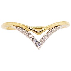 Diamond V Ring, 14 Karat Yellow Gold and White Gold Diamond Double V Band