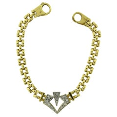 Diamond V-Shaped Classic Yellow Gold Link Bracelet