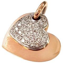 Diamond Valentine Pendant in 18 Karat White and Rose Gold