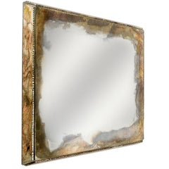 Diamond Wall Mirror Handmade Silvering Hammered Edge Sabrina Landini