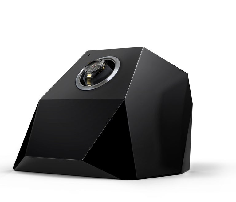 Modern Diamond Watch Winder Black and Gold Version For Sale
