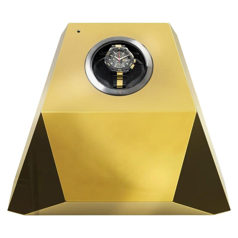 Diamond Watch Winder Black and Gold Version For Sale