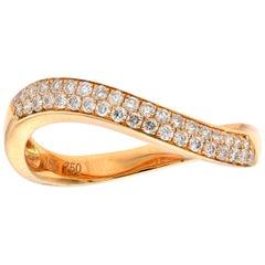 Diamond Wave Ring Rose Gold