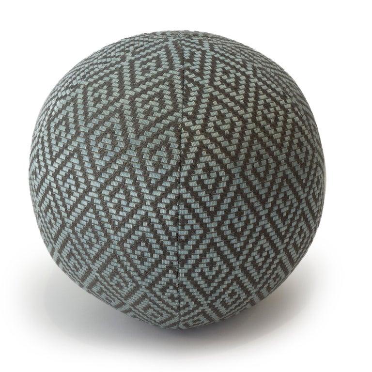Modern Diamond Weave Round Ball Pillow For Sale