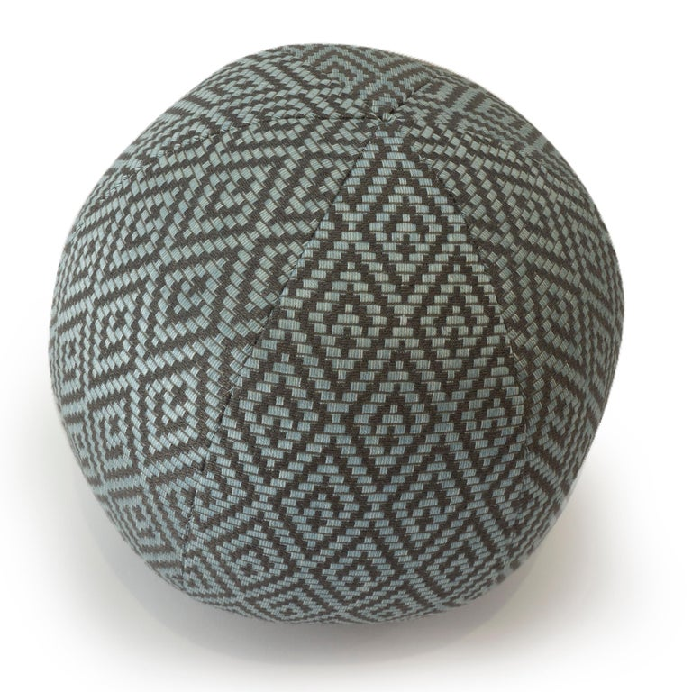 Contemporary Diamond Weave Round Ball Pillow For Sale