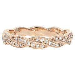 Diamond Wedding Band, 14 Karat Rose Gold Anniversary Ring Round Cut .20 Carat
