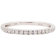 Diamond Wedding Band, 14 Karat White Gold Diamond 1/2 Half Band, Stackable Ring