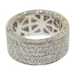 Diamond Wedding Band / Ring White Gold, 6.68 Carat