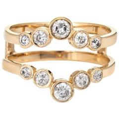 Diamond Wedding Ring Guard Wrap Vintage 14 Karat Gold Estate Bridal Jewelry