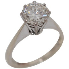 Diamond Wedding Ring with Solitaire 2 Carat, Wesselton, IF, 14 Karat Gold