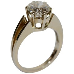 Diamond wedding Ring with Solitaire almost 2 Carat, Wesselton, VS2, 18K Gold