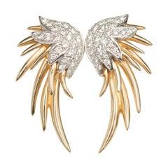 Diamond White and Yellow Gold Earrings