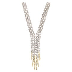 Diamond White and Yellow Gold Waterfall Necklace