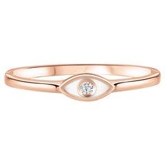 Diamond White Enamel Evil Eye Ring in 14K Rose Gold, Shlomit Rogel