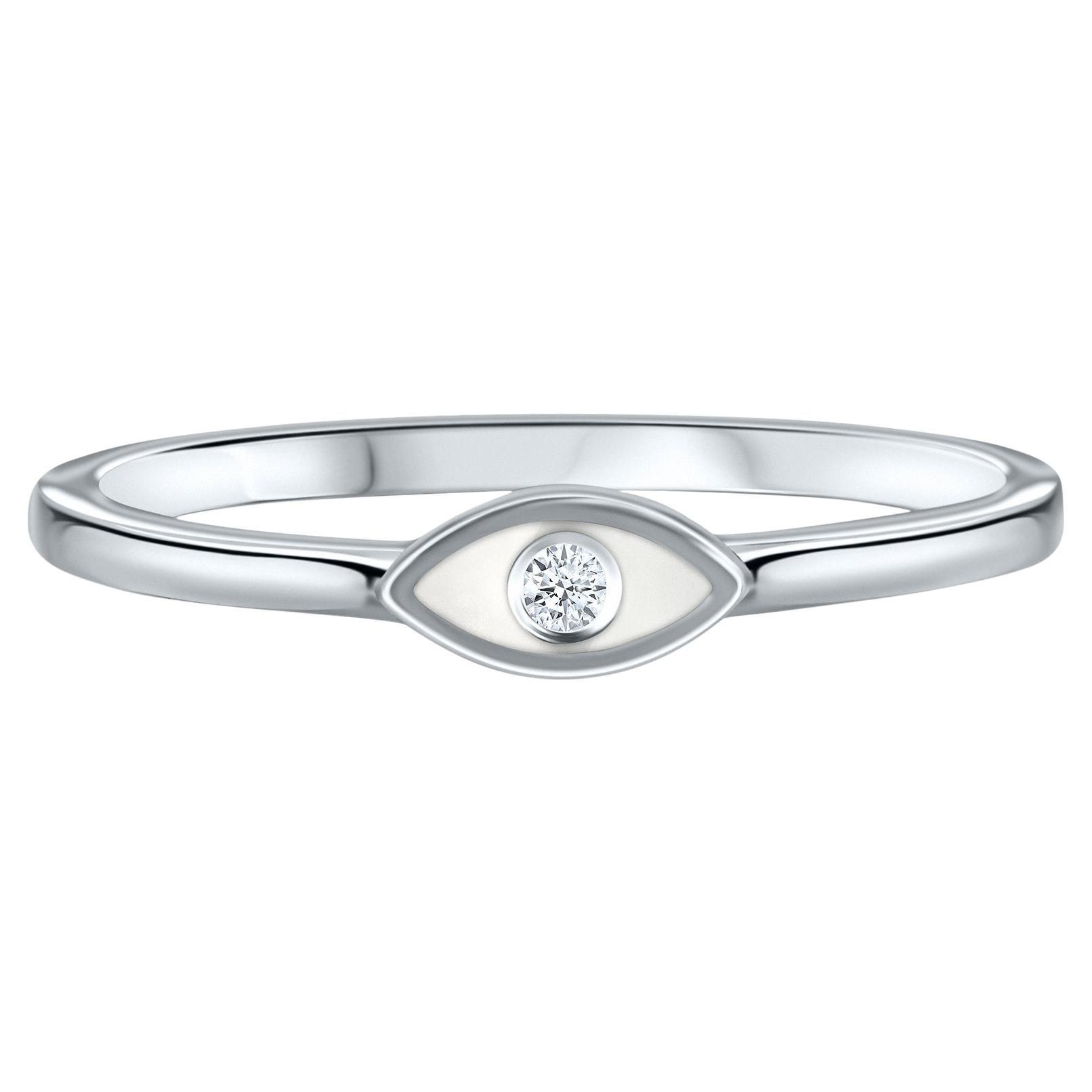 Diamond White Enamel Evil Eye Ring in 14K White Gold, Shlomit Rogel