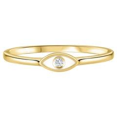Diamond White Enamel Evil Eye Ring in 14K Yellow Gold, Shlomit Rogel