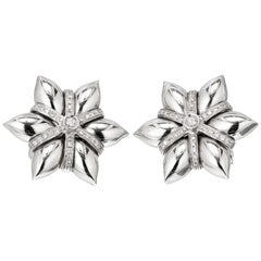 Diamond White Gold 3-D Star Shaped Earrings