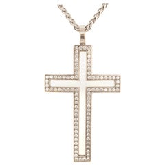 Diamond White Gold 750 Cross Pendant