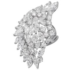 White Gold 18 K, Diamond Round - Marquise, Unique Art, Wedding Angel Wings Ring