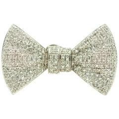 Diamond White Gold Bow Brooch with Hook to Hold Watch or Pendant