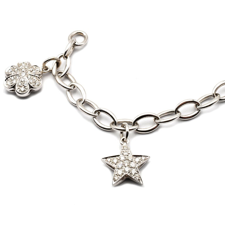 Contemporary Diamond White Gold Charms Bracelet, Made in Italy For Sale