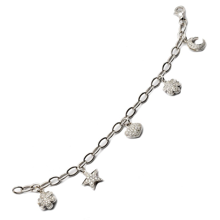 Diamond White Gold Charms Bracelet, Made in Italy For Sale 1